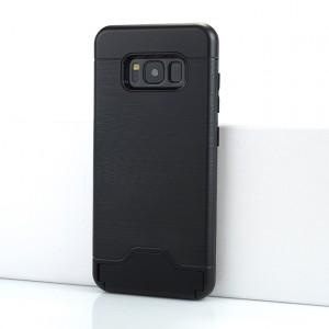Двухкомпонентный силиконовый матовый непрозрачный чехол с поликарбонатной крышкой, встроенной ножкой-подставкой, отсеком для карт и текстурным покрытием Металлик для Samsung Galaxy S8 Черный