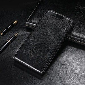 Глянцевый водоотталкивающий чехол вертикальная книжка на силиконовой основе на магнитной защелке для Samsung Galaxy A70  Черный