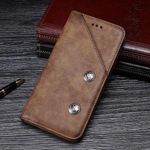 Чехол флип подставка на силиконовой основе с внешним и внутренним отсеком для карт для Samsung Galaxy A70  Коричневый