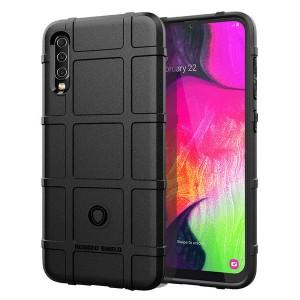 Силиконовый матовый непрозрачный чехол с текстурным покрытием Клетка для Samsung Galaxy A70  Черный