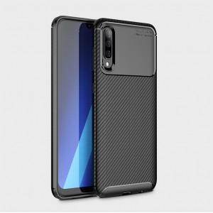 Силиконовый матовый непрозрачный чехол с текстурным покрытием Карбон для Samsung Galaxy A70  Черный