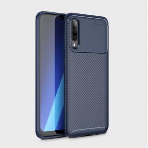 Силиконовый матовый непрозрачный чехол с текстурным покрытием Карбон для Samsung Galaxy A70  Синий