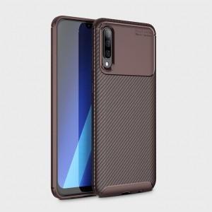 Силиконовый матовый непрозрачный чехол с текстурным покрытием Карбон для Samsung Galaxy A70  Коричневый