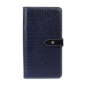 Чехол портмоне подставка текстура Крокодил на силиконовой основе с отсеком для карт на магнитной защелке для Samsung Galaxy A10 Синий
