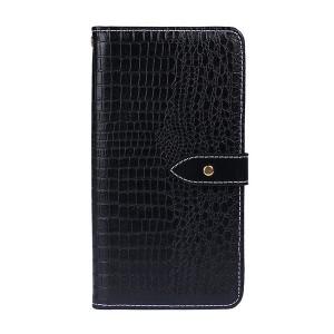 Чехол портмоне подставка текстура Крокодил на силиконовой основе с отсеком для карт на магнитной защелке для Samsung Galaxy A10 Черный