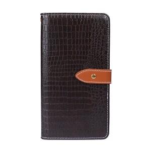 Чехол портмоне подставка текстура Крокодил на силиконовой основе с отсеком для карт на магнитной защелке для Samsung Galaxy A10 Коричневый