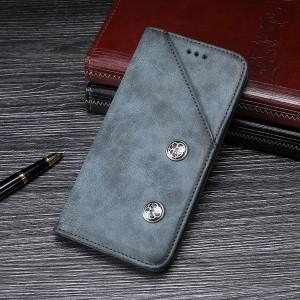 Винтажный чехол горизонтальная книжка подставка на силиконовой основе с отсеком для карт для Samsung Galaxy A10  Серый