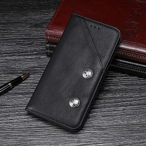 Винтажный чехол горизонтальная книжка подставка на силиконовой основе с отсеком для карт для Samsung Galaxy A10  Черный