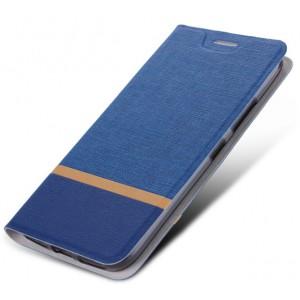 Чехол горизонтальная книжка подставка на силиконовой основе с тканевым покрытием для Samsung Galaxy A10  Синий