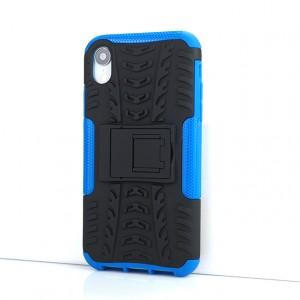 Противоударный двухкомпонентный силиконовый матовый непрозрачный чехол с поликарбонатными вставками экстрим защиты с встроенной ножкой-подставкой и текстурным покрытием Шина для Iphone Xr Синий