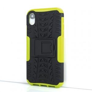 Противоударный двухкомпонентный силиконовый матовый непрозрачный чехол с поликарбонатными вставками экстрим защиты с встроенной ножкой-подставкой и текстурным покрытием Шина для Iphone Xr Зеленый