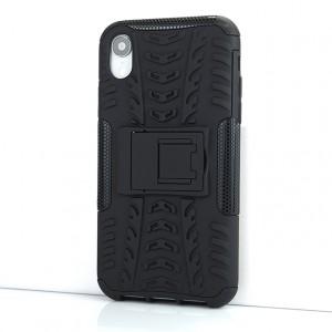 Противоударный двухкомпонентный силиконовый матовый непрозрачный чехол с поликарбонатными вставками экстрим защиты с встроенной ножкой-подставкой и текстурным покрытием Шина для Iphone Xr Черный