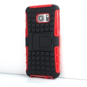 Противоударный двухкомпонентный силиконовый матовый непрозрачный чехол с нескользящими гранями и поликарбонатными вставками экстрим защиты с встроенной ножкой-подставкой и текстурным покрытием Шина для Samsung Galaxy S7 Красный