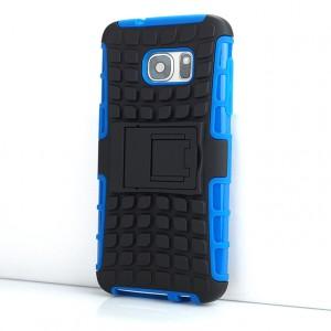 Противоударный двухкомпонентный силиконовый матовый непрозрачный чехол с нескользящими гранями и поликарбонатными вставками экстрим защиты с встроенной ножкой-подставкой и текстурным покрытием Шина для Samsung Galaxy S7 Синий