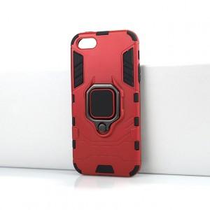 Противоударный двухкомпонентный силиконовый матовый непрозрачный чехол с поликарбонатными вставками экстрим защиты с встроенным кольцом-подставкой для Iphone SE Красный