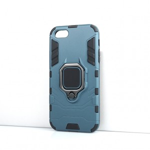 Противоударный двухкомпонентный силиконовый матовый непрозрачный чехол с поликарбонатными вставками экстрим защиты с встроенным кольцом-подставкой для Iphone SE Синий