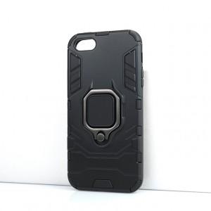 Противоударный двухкомпонентный силиконовый матовый непрозрачный чехол с поликарбонатными вставками экстрим защиты с встроенным кольцом-подставкой для Iphone SE Черный