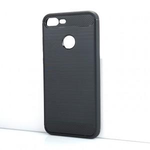 Силиконовый матовый непрозрачный чехол с текстурным покрытием Металлик для Huawei Honor 9 Lite Черный