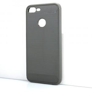 Силиконовый матовый непрозрачный чехол с текстурным покрытием Металлик для Huawei Honor 9 Lite Серый