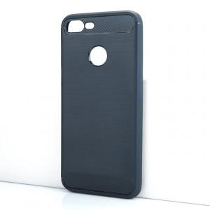 Силиконовый матовый непрозрачный чехол с текстурным покрытием Металлик для Huawei Honor 9 Lite Синий