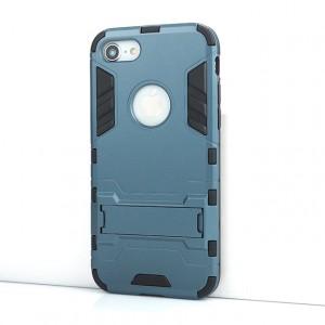 Противоударный двухкомпонентный силиконовый матовый непрозрачный чехол с поликарбонатными вставками экстрим защиты с встроенной ножкой-подставкой для Iphone 7/8 Синий
