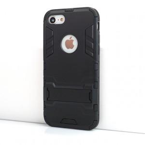 Противоударный двухкомпонентный силиконовый матовый непрозрачный чехол с поликарбонатными вставками экстрим защиты с встроенной ножкой-подставкой для Iphone 7/8 Черный