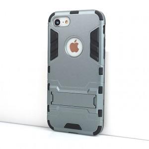 Противоударный двухкомпонентный силиконовый матовый непрозрачный чехол с поликарбонатными вставками экстрим защиты с встроенной ножкой-подставкой для Iphone 7/8 Серый