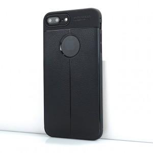 Силиконовый матовый непрозрачный чехол с текстурным покрытием Кожа для Iphone 7 Plus Черный