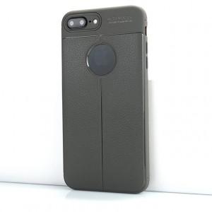 Силиконовый матовый непрозрачный чехол с текстурным покрытием Кожа для Iphone 7 Plus Серый