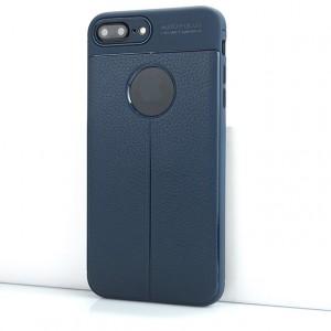 Силиконовый матовый непрозрачный чехол с текстурным покрытием Кожа для Iphone 7 Plus Синий