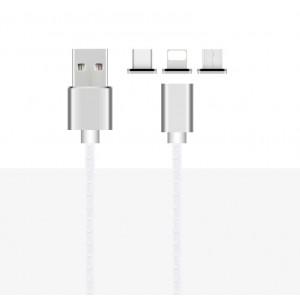 Интерфейсный кабель со сменными магнитными коннекторами (Lightning/MicroUSB/Type-C) и световым индикатором 1м Белый