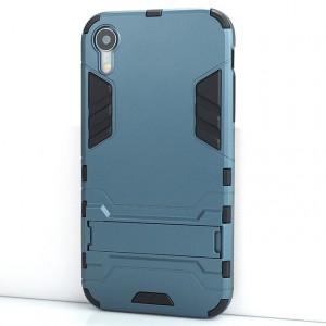 Противоударный двухкомпонентный силиконовый матовый непрозрачный чехол с поликарбонатными вставками экстрим защиты с встроенной ножкой-подставкой для Iphone Xr Синий
