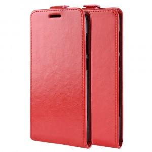 Чехол вертикальная книжка на силиконовой основе с отсеком для карт на магнитной защелке для Doogee BL5000  Красный