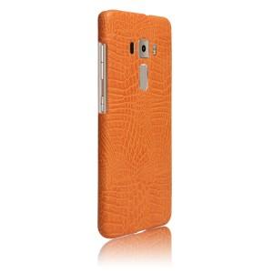 Чехол накладка текстурная отделка Кожа Крокодила для Asus ZenFone 3 5.2 Оранжевый