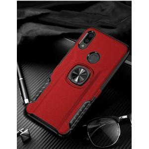 Противоударный двухкомпонентный силиконовый матовый непрозрачный чехол с поликарбонатными вставками экстрим защиты с встроенным кольцом-подставкой и текстурным покрытием Кожа для Xiaomi RedMi Note 7 Красный