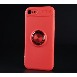 Силиконовый матовый непрозрачный чехол с встроенным кольцом-подставкой для Iphone 7/8 Красный