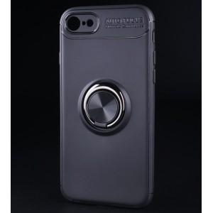 Силиконовый матовый непрозрачный чехол с встроенным кольцом-подставкой для Iphone 7/8 Черный