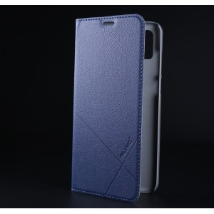 Чехол флип подставка текстура Линии на пластиковой основе с отсеком для карт для Iphone Xs Max Синий