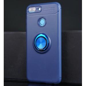 Силиконовый матовый непрозрачный чехол с встроенным кольцом-подставкой для Huawei Honor 9 Lite Синий