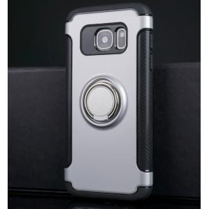 Силиконовый матовый непрозрачный чехол с поликарбонатными вставками с встроенным кольцом-подставкой и текстурным покрытием Карбон для Samsung Galaxy S7 Белый