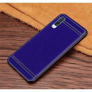 Силиконовый матовый непрозрачный чехол с текстурным покрытием Кожа для Samsung Galaxy A50 Синий