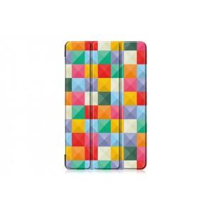 Сегментарный чехол книжка подставка на непрозрачной поликарбонатной основе с полноповерхностным принтом для Samsung Galaxy Tab S5e