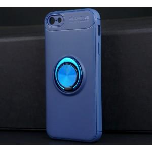 Силиконовый матовый непрозрачный чехол с встроенным кольцом-подставкой для Iphone 5/5s/SE Синий
