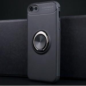 Силиконовый матовый непрозрачный чехол с встроенным кольцом-подставкой для Iphone 5/5s/SE Черный
