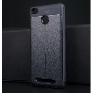 Силиконовый матовый непрозрачный чехол с текстурным покрытием Кожа для Xiaomi Redmi 3S Черный