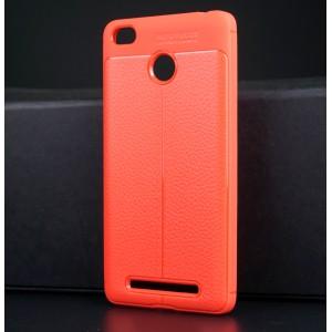 Силиконовый матовый непрозрачный чехол с текстурным покрытием Кожа для Xiaomi Redmi 3S