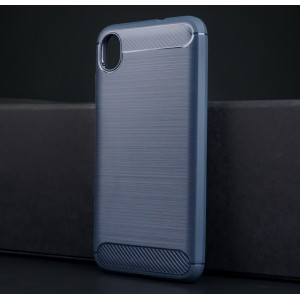 Силиконовый матовый непрозрачный чехол с текстурным покрытием Металлик для ASUS ZenFone Live L1 Синий