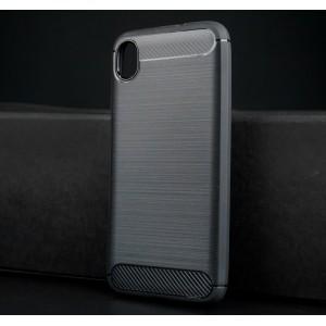Силиконовый матовый непрозрачный чехол с текстурным покрытием Металлик для ASUS ZenFone Live L1 Черный