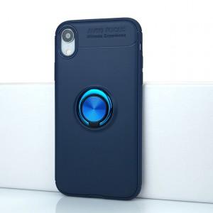 Силиконовый матовый непрозрачный чехол с встроенным кольцом-подставкой для Iphone Xr Синий