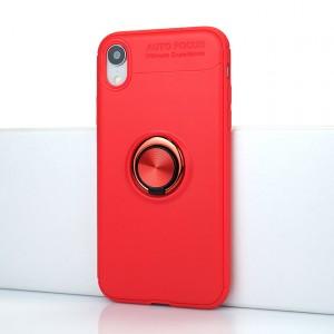 Силиконовый матовый непрозрачный чехол с встроенным кольцом-подставкой для Iphone Xr Красный